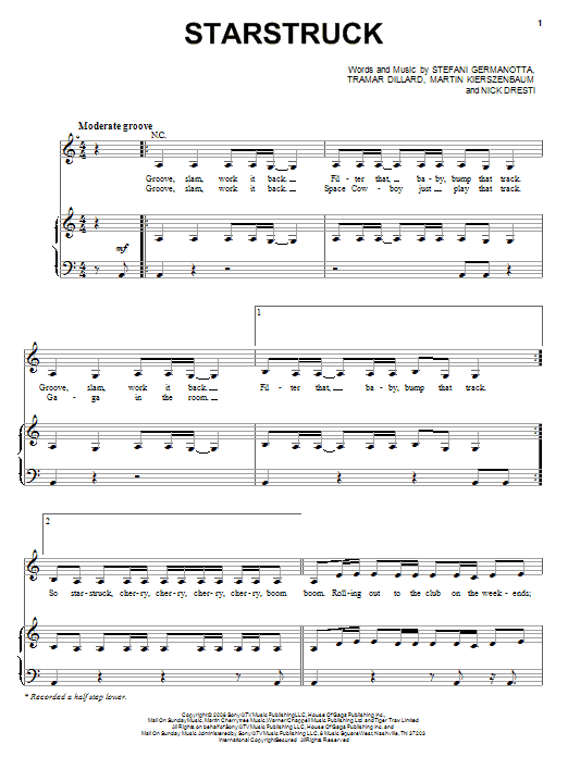 Download Lady GaGa 'Starstruck' Digital Sheet Music Notes & Chords and start playing in minutes