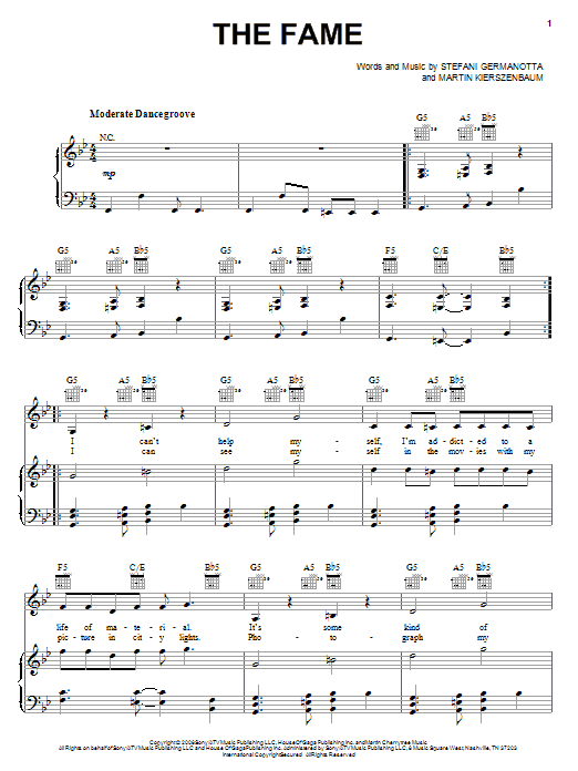 Download Lady GaGa 'The Fame' Digital Sheet Music Notes & Chords and start playing in minutes