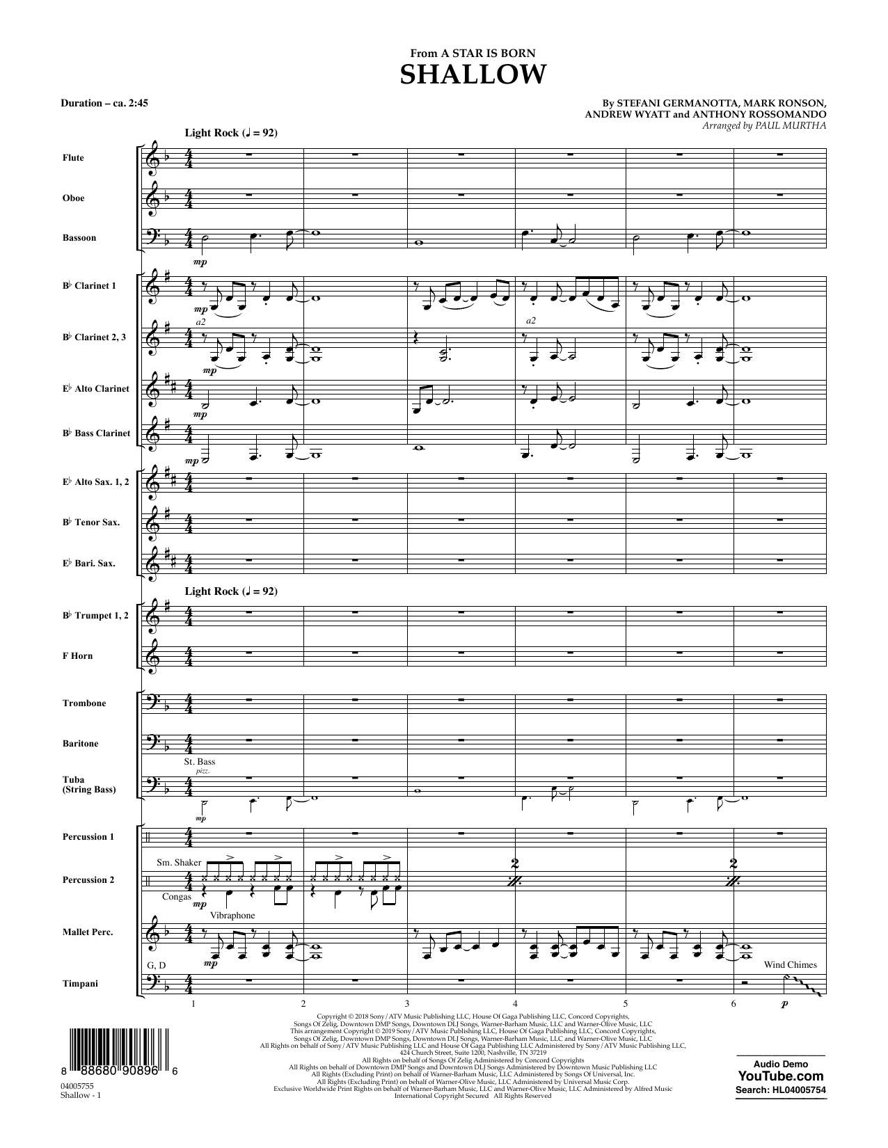 Lady Gaga & Bradley Cooper Shallow (from A Star Is Born) (arr. Paul Murtha) - Conductor Score (Full Score) sheet music preview music notes and score for Jazz Ensemble including 10 page(s)
