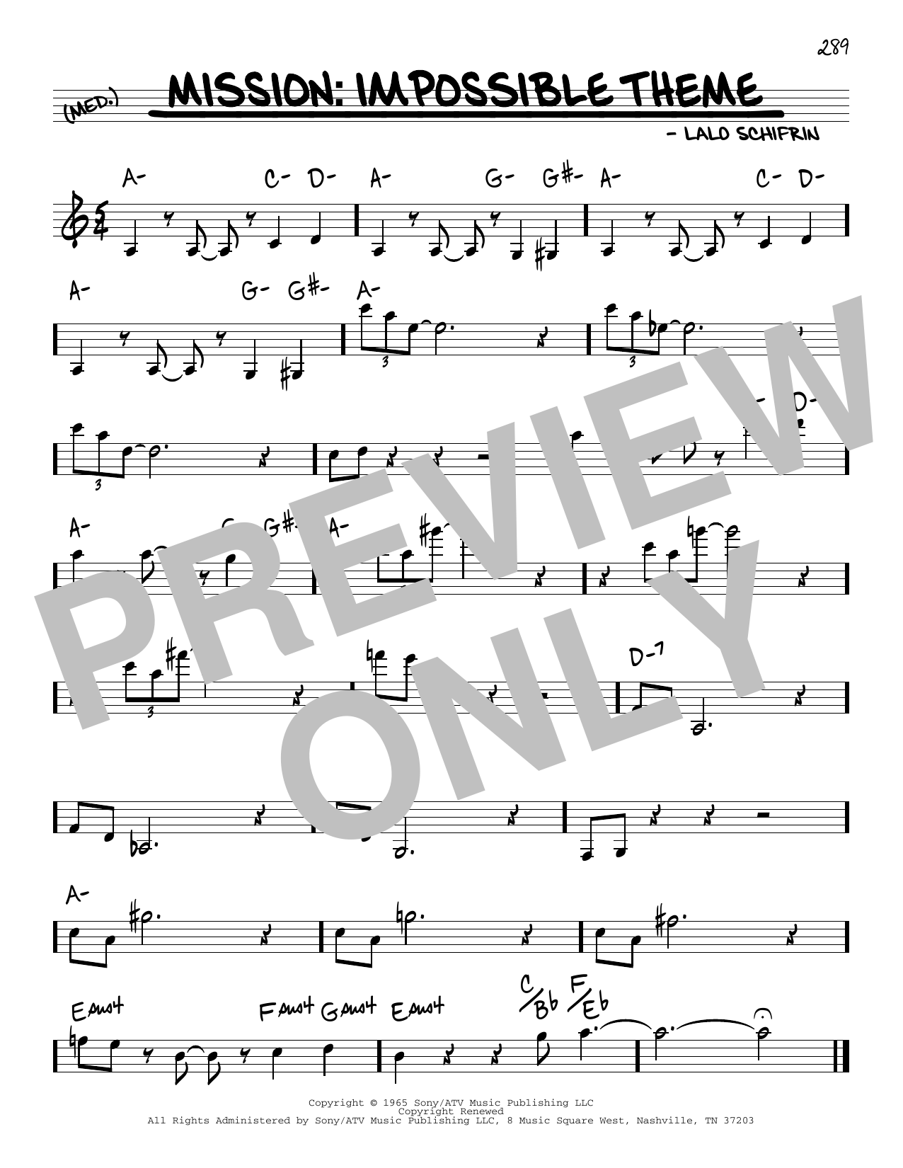 Lalo Schifrin Mission: Impossible Theme (Mission Accomplished) sheet music notes and chords