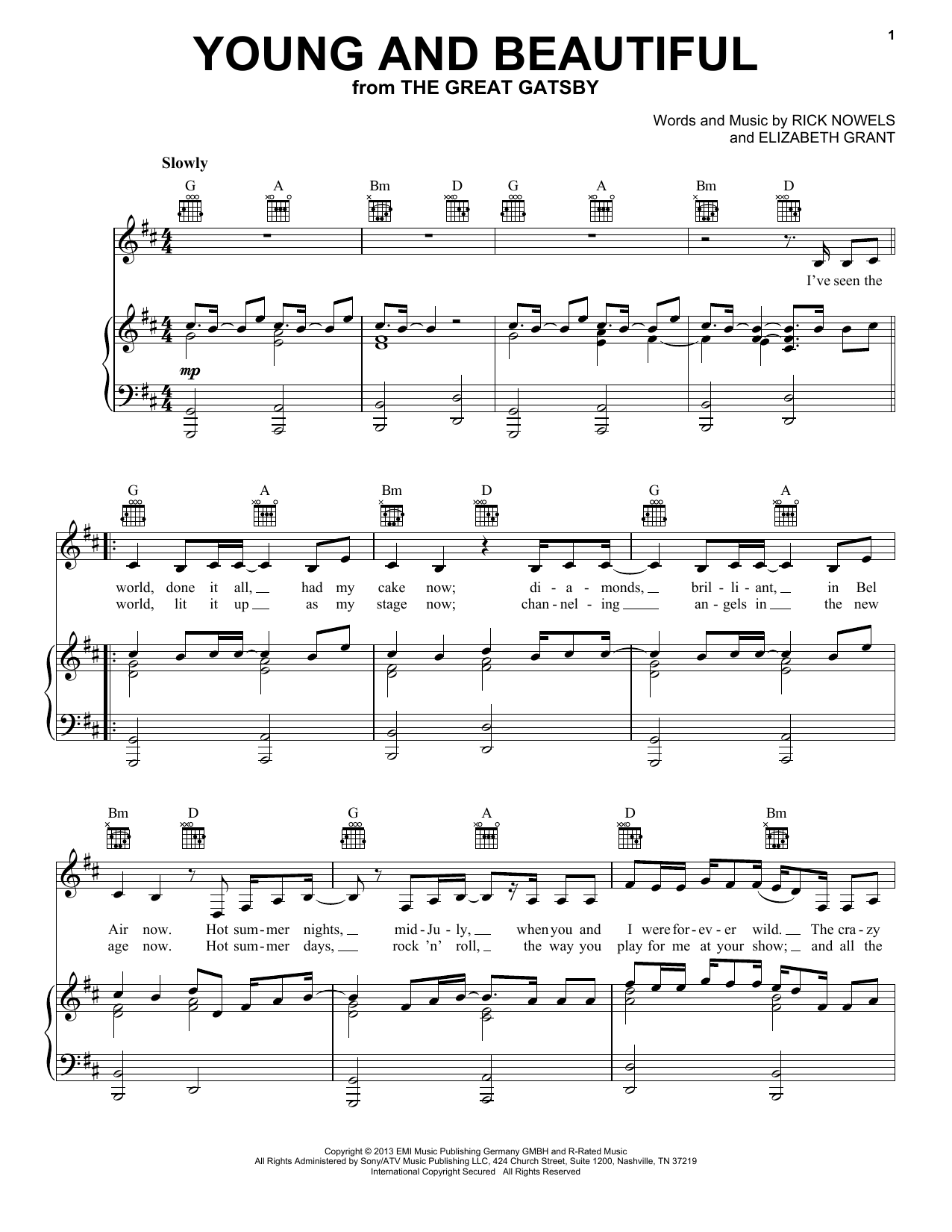 Lana Del Rey Young And Beautiful sheet music notes and chords
