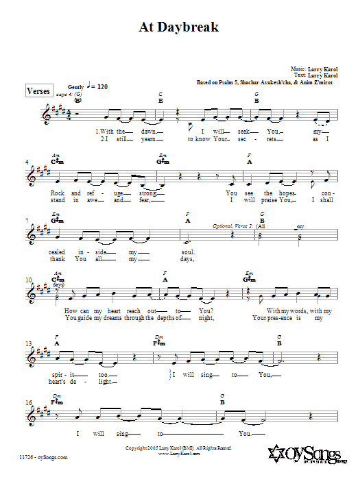 Larry Karol At Daybreak sheet music preview music notes and score for Melody Line, Lyrics & Chords including 3 page(s)