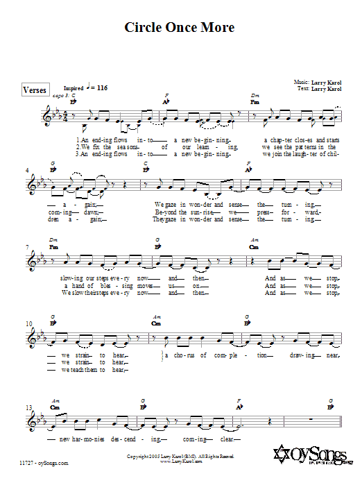Larry Karol Circle Once More sheet music preview music notes and score for Melody Line, Lyrics & Chords including 3 page(s)