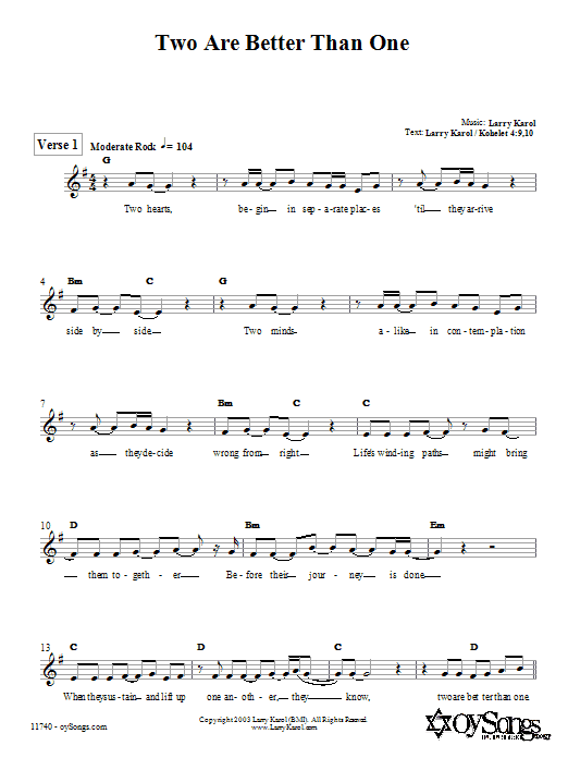 Larry Karol Two are Better Than One sheet music notes and chords