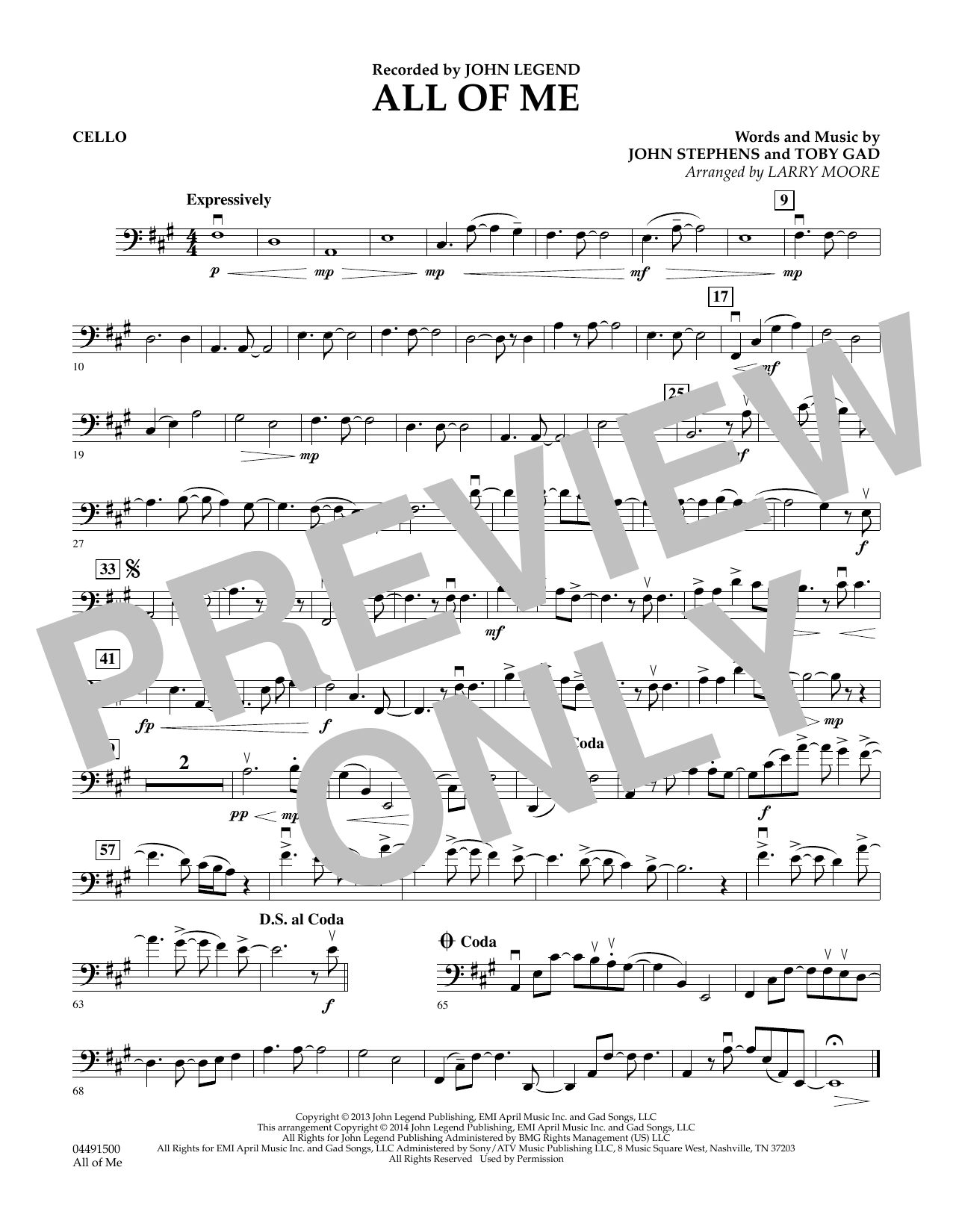 Larry Moore All of Me - Cello sheet music preview music notes and score for String Quartet including 2 page(s)