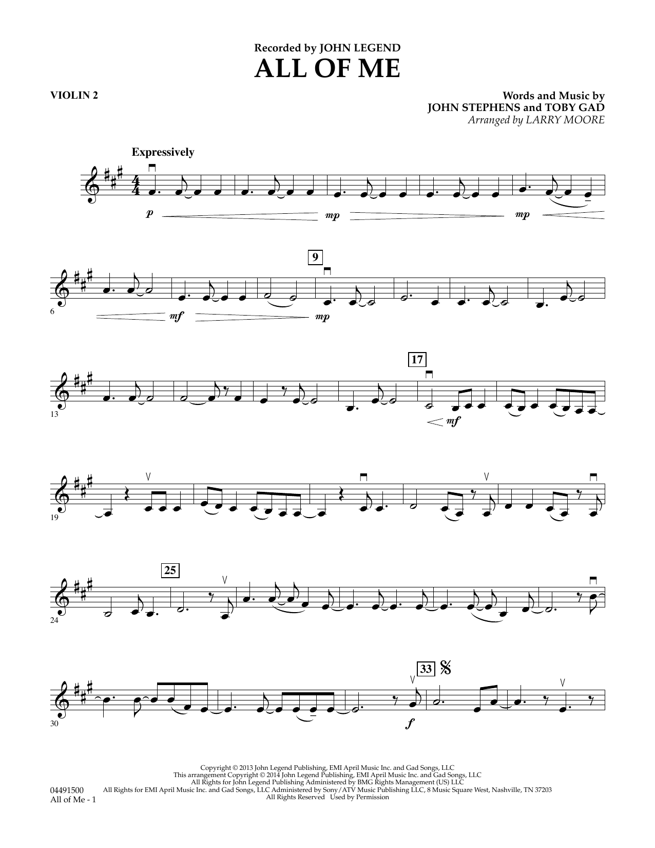 Larry Moore All of Me - Violin 2 sheet music preview music notes and score for String Quartet including 2 page(s)