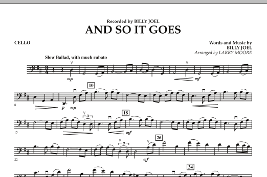 Larry Moore And So It Goes - Cello sheet music preview music notes and score for String Quartet including 1 page(s)