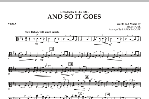 Larry Moore And So It Goes - Viola sheet music preview music notes and score for String Quartet including 1 page(s)