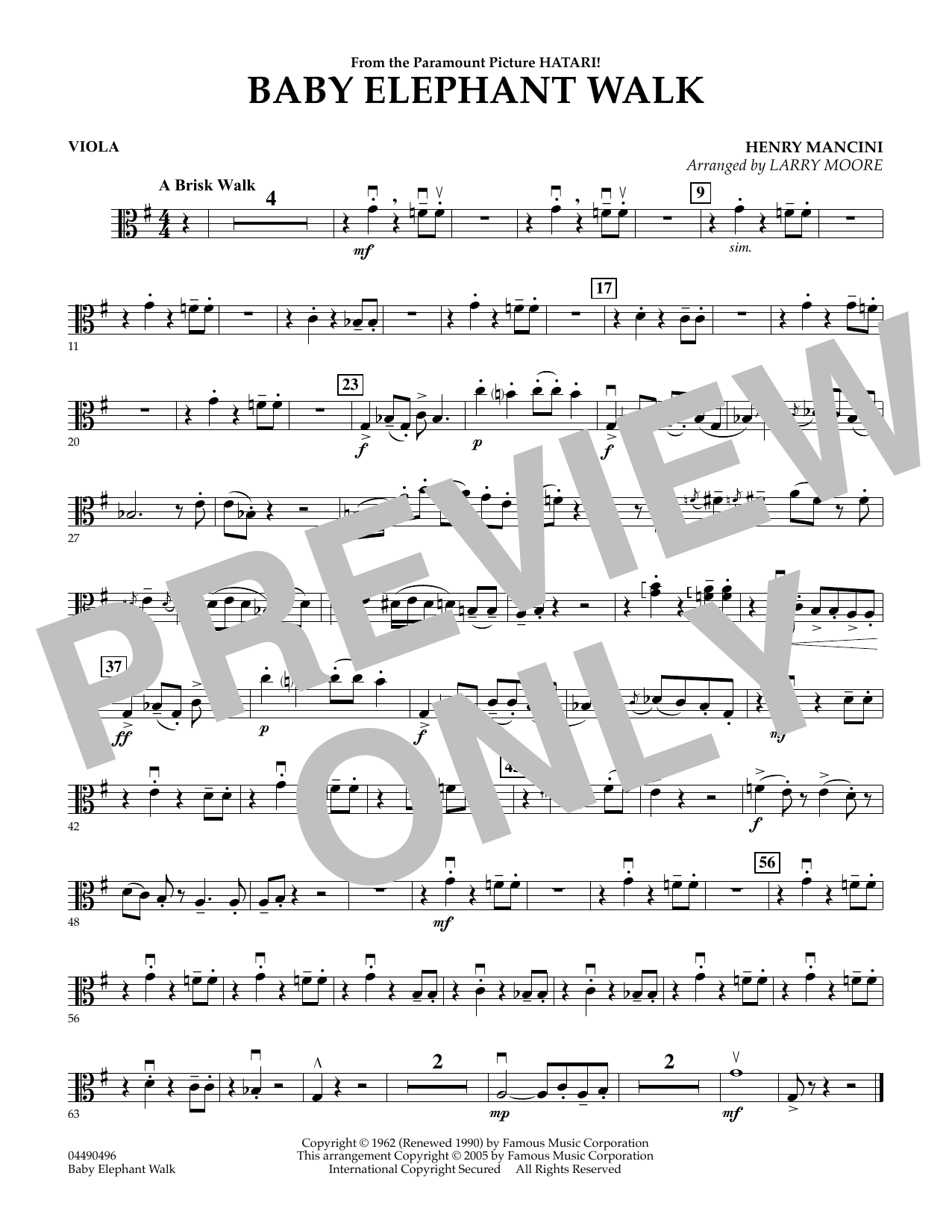 Larry Moore Baby Elephant Walk - Viola sheet music preview music notes and score for String Quartet including 1 page(s)