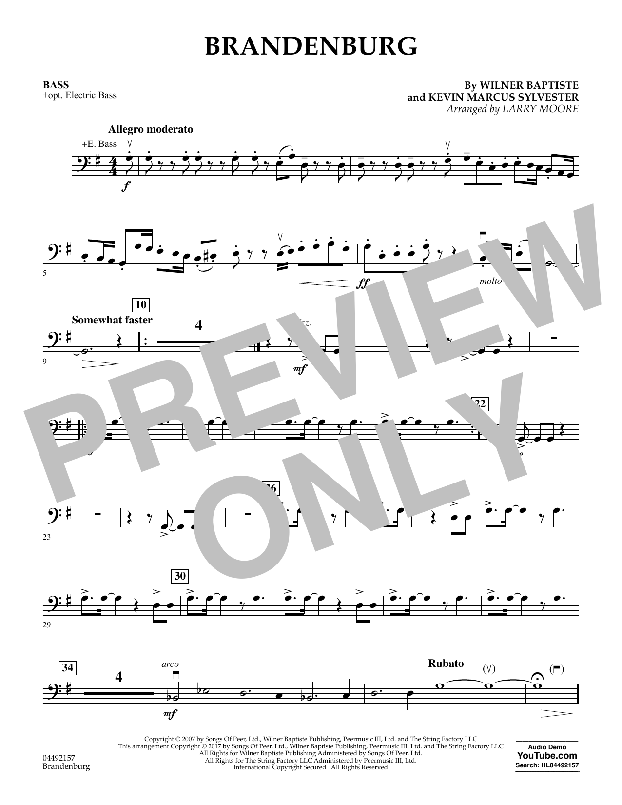 Download Larry Moore 'Brandenburg - Bass' Digital Sheet Music Notes & Chords and start playing in minutes