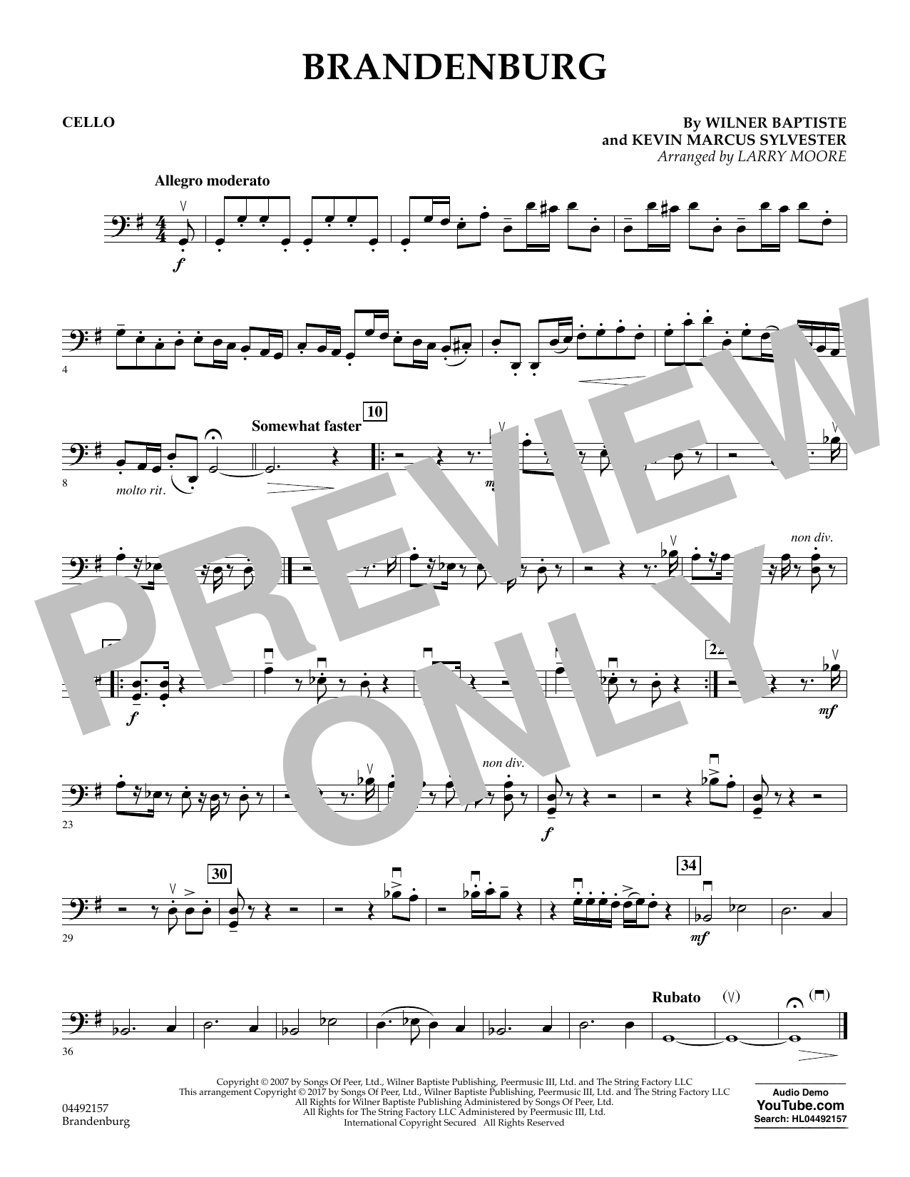 Download Larry Moore 'Brandenburg - Cello' Digital Sheet Music Notes & Chords and start playing in minutes