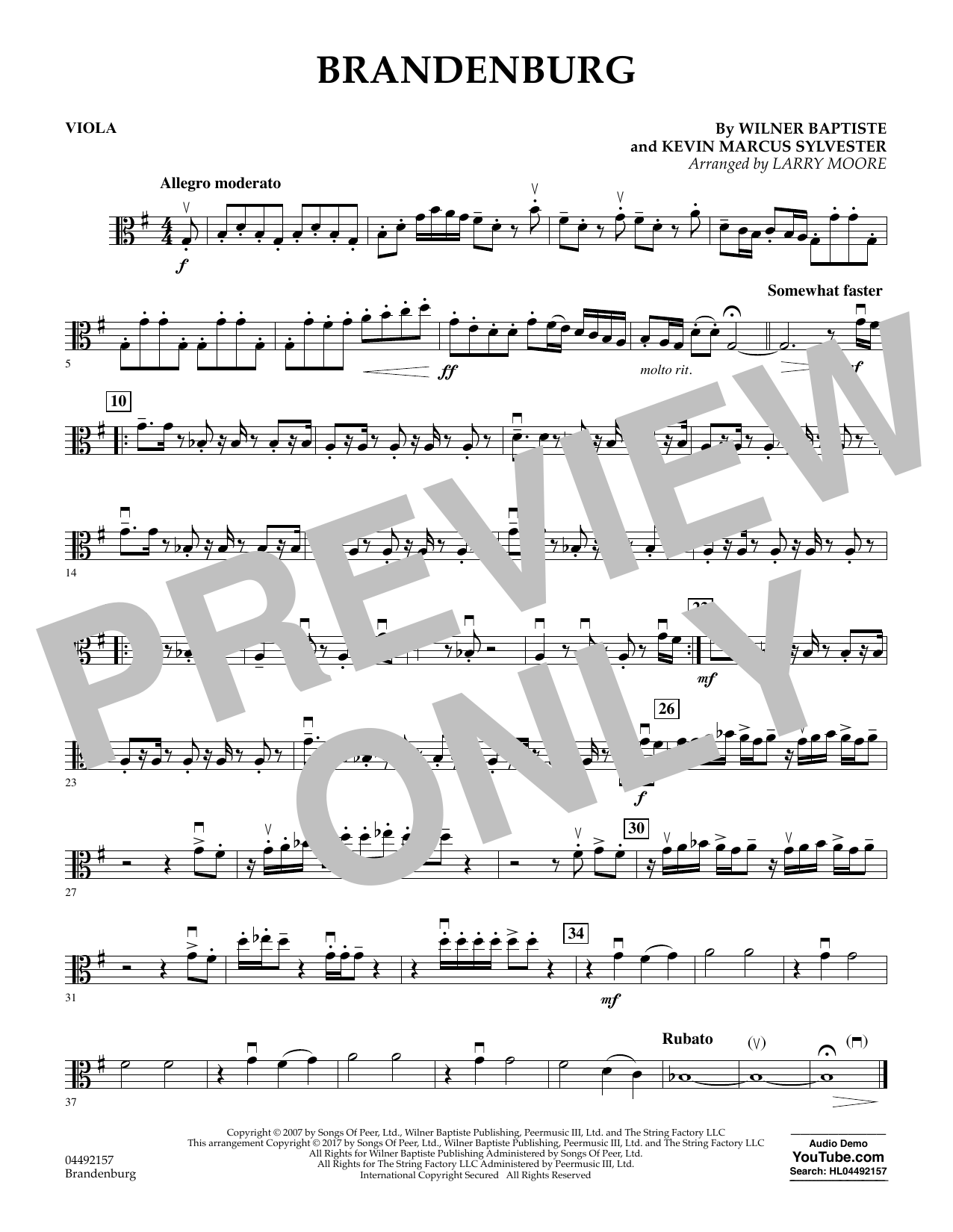 Download Larry Moore 'Brandenburg - Viola' Digital Sheet Music Notes & Chords and start playing in minutes