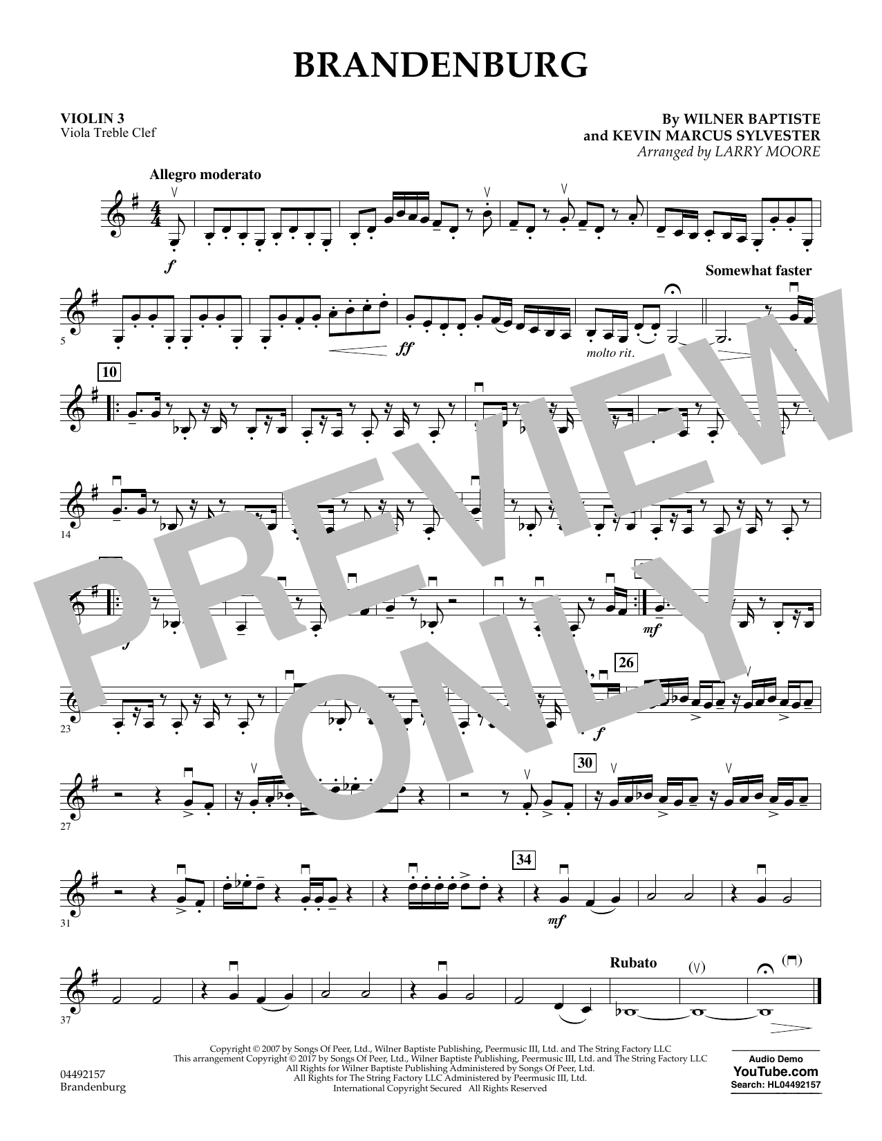 Download Larry Moore 'Brandenburg - Violin 3 (Viola Treble Clef)' Digital Sheet Music Notes & Chords and start playing in minutes