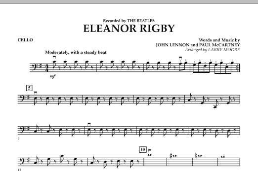 Larry Moore Eleanor Rigby - Cello sheet music preview music notes and score for String Quartet including 1 page(s)