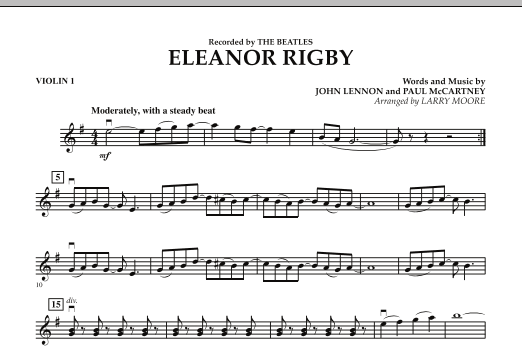 Larry Moore Eleanor Rigby - Violin 1 sheet music preview music notes and score for String Quartet including 1 page(s)
