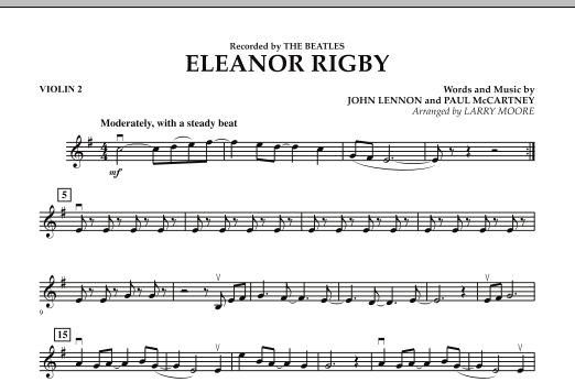 Larry Moore Eleanor Rigby - Violin 2 sheet music preview music notes and score for String Quartet including 1 page(s)