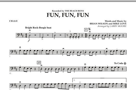 Larry Moore Fun, Fun, Fun - Cello sheet music preview music notes and score for Orchestra including 1 page(s)