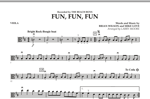 Larry Moore Fun, Fun, Fun - Viola sheet music preview music notes and score for Orchestra including 1 page(s)