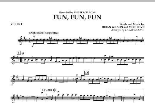 Larry Moore Fun, Fun, Fun - Violin 1 sheet music preview music notes and score for Orchestra including 1 page(s)