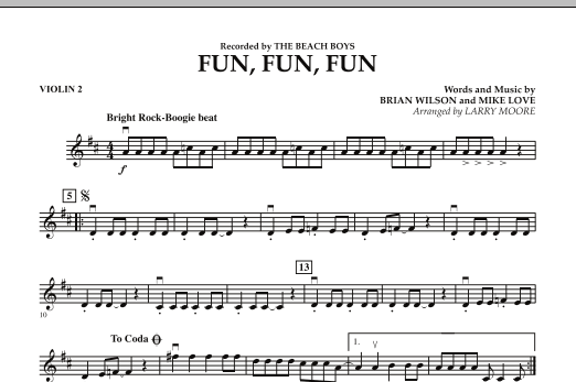 Larry Moore Fun, Fun, Fun - Violin 2 sheet music preview music notes and score for Orchestra including 1 page(s)