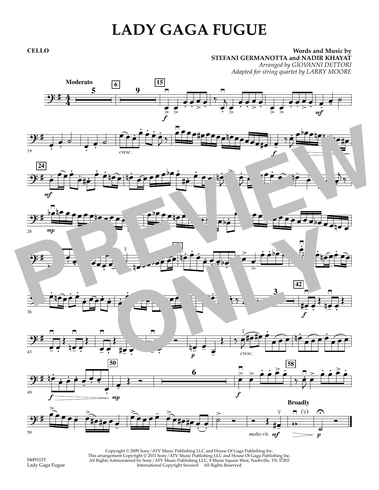 Larry Moore Lady Gaga Fugue - Cello sheet music preview music notes and score for String Quartet including 1 page(s)