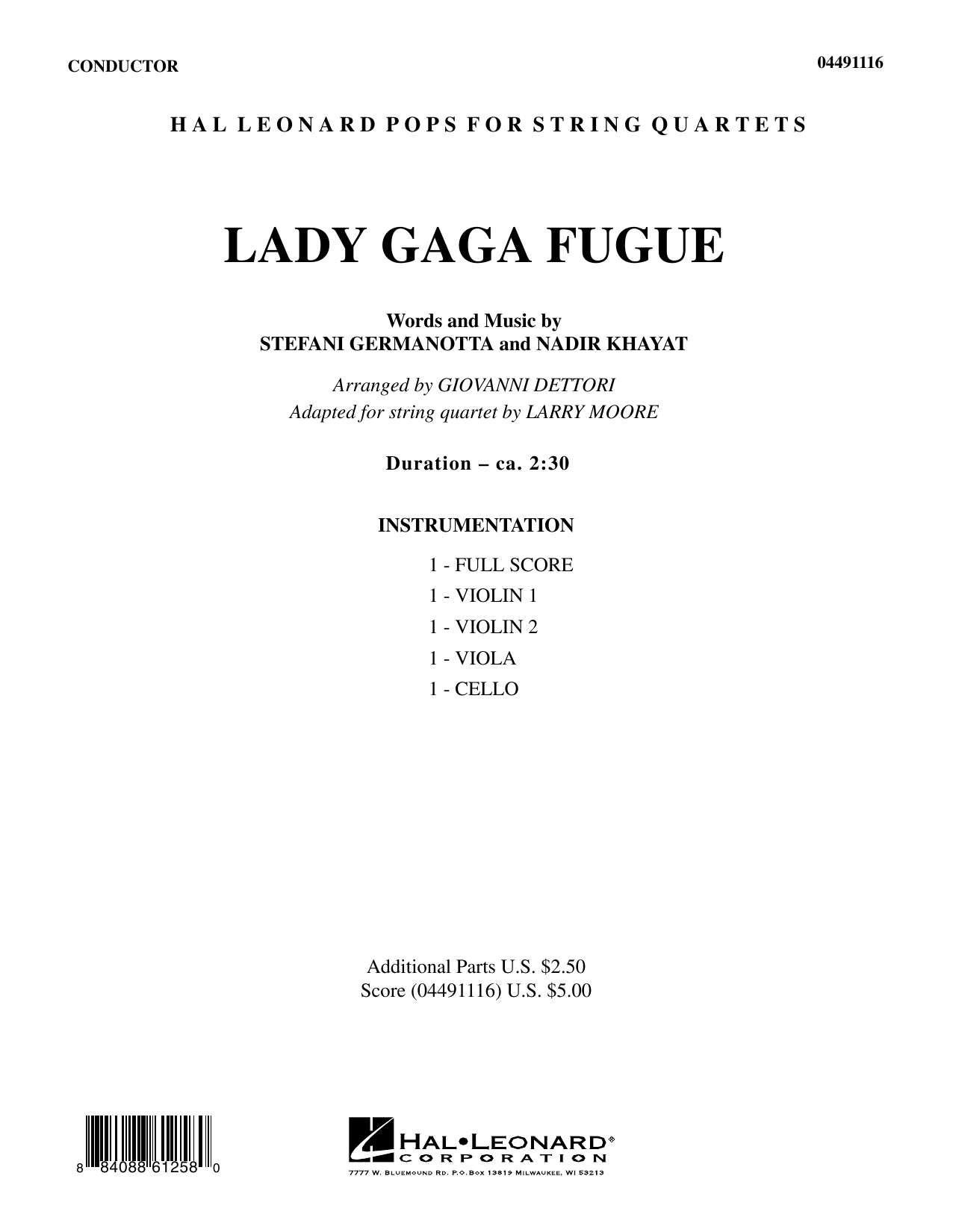 Larry Moore Lady Gaga Fugue - Full Score sheet music preview music notes and score for String Quartet including 7 page(s)
