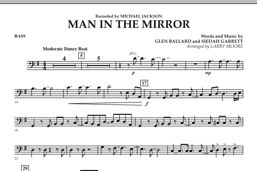 Larry Moore Man in the Mirror - Bass sheet music preview music notes and score for Orchestra including 1 page(s)