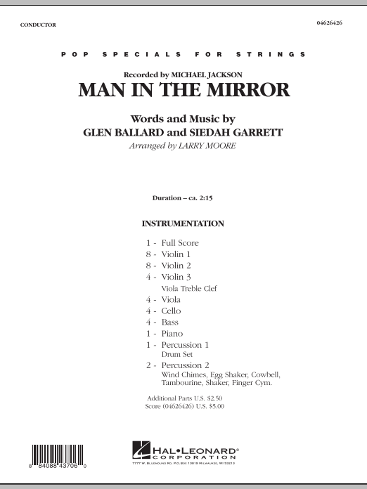 Larry Moore Man in the Mirror - Full Score sheet music preview music notes and score for Orchestra including 8 page(s)