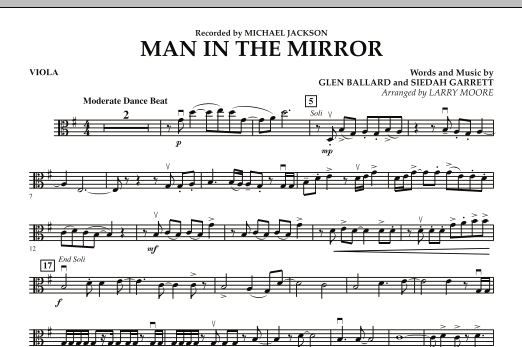 Larry Moore Man in the Mirror - Viola sheet music preview music notes and score for Orchestra including 1 page(s)