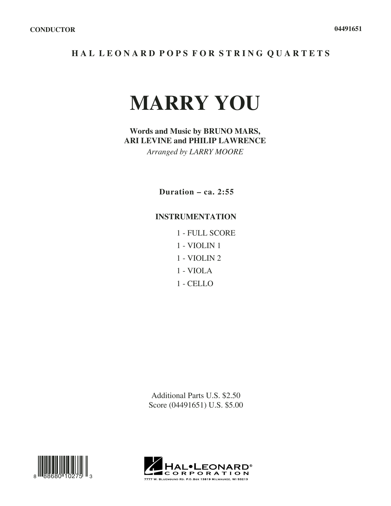 Larry Moore Marry You - Conductor Score (Full Score) sheet music preview music notes and score for String Quartet including 7 page(s)