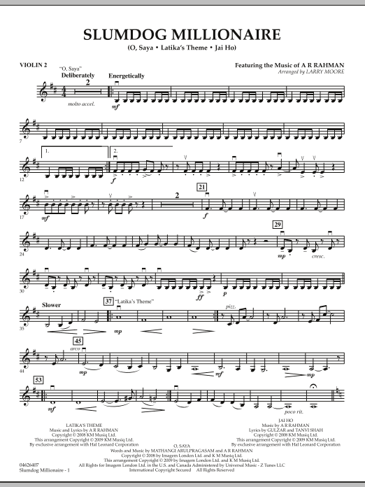 Download Larry Moore 'Slumdog Millionaire - Violin 2' Digital Sheet Music Notes & Chords and start playing in minutes