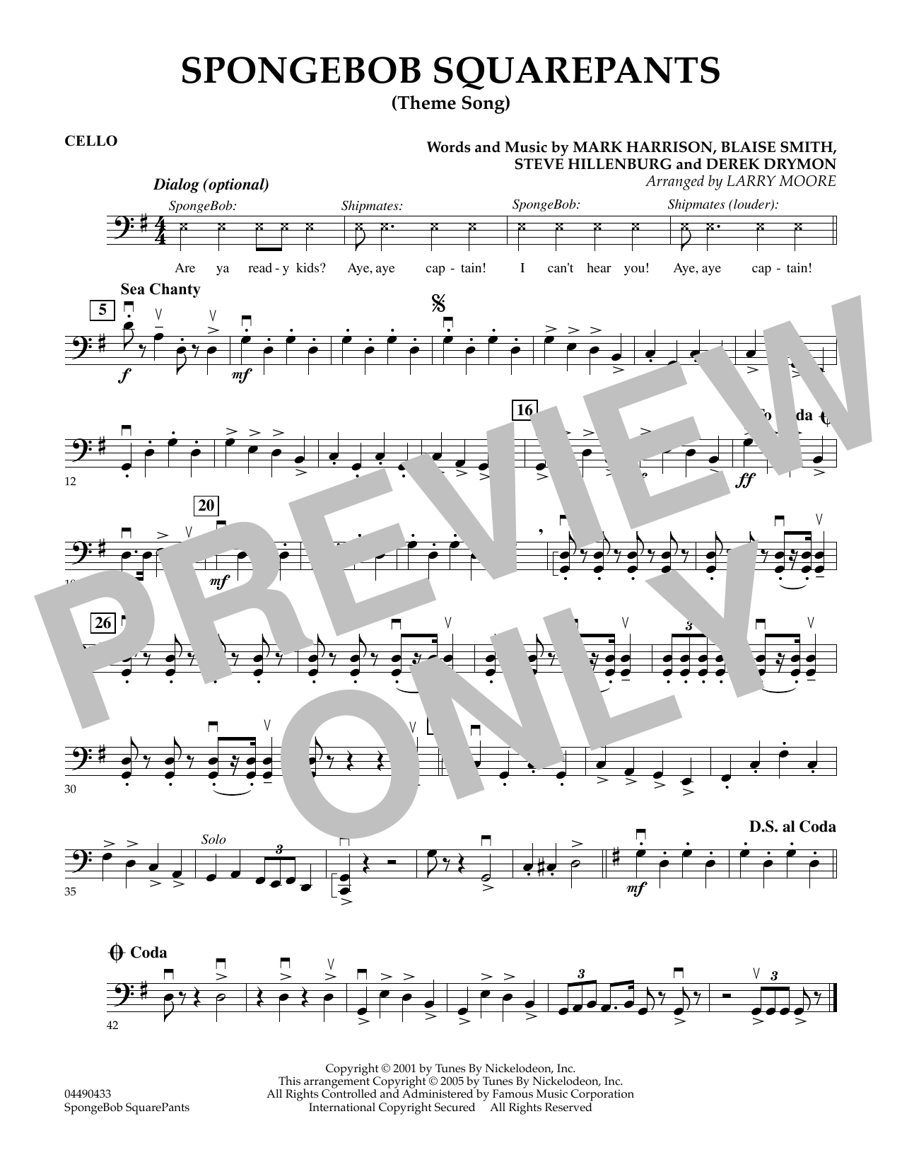 Larry Moore SpongeBob SquarePants (Theme Song) - Cello sheet music preview music notes and score for String Quartet including 1 page(s)