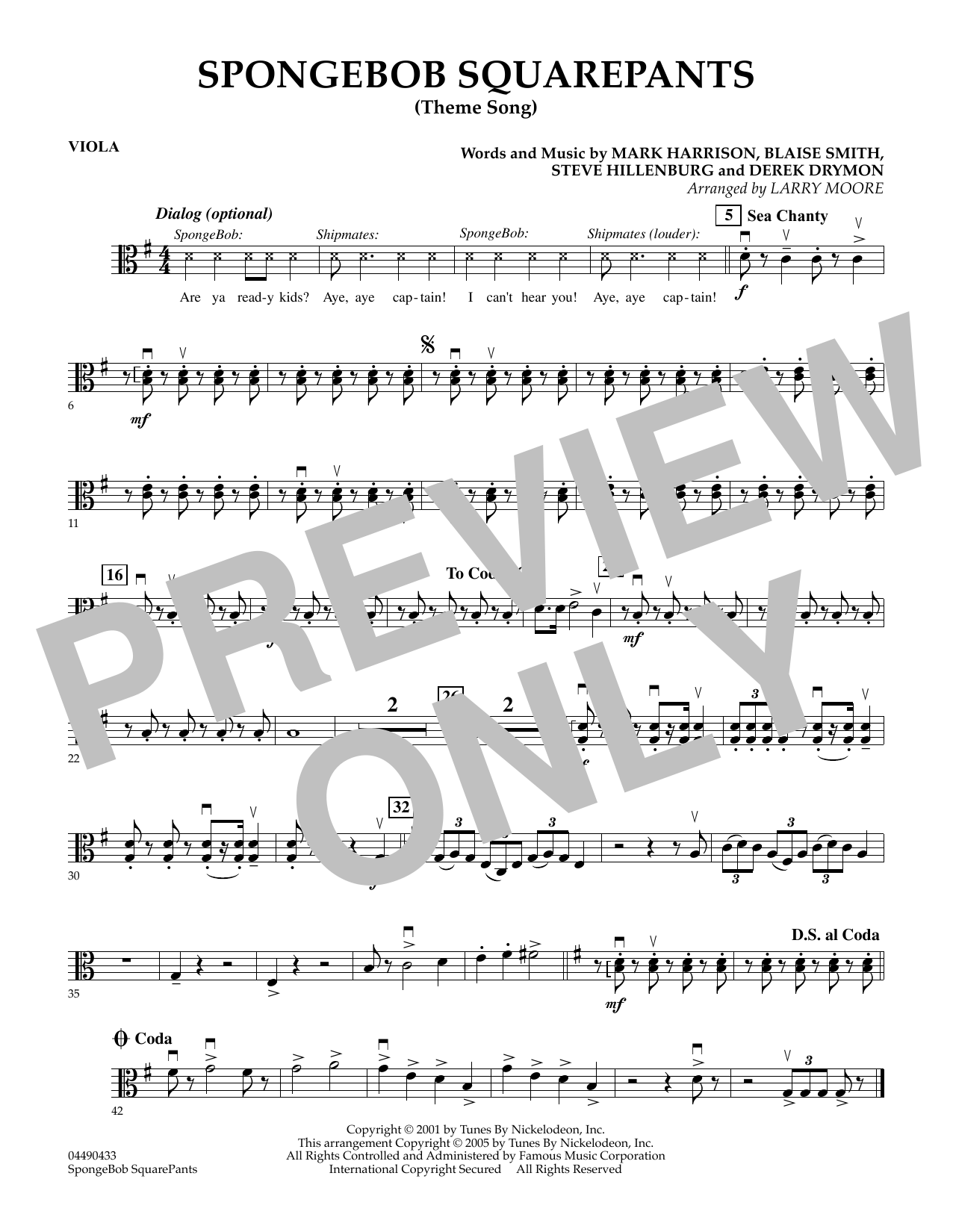 Larry Moore SpongeBob SquarePants (Theme Song) - Viola sheet music preview music notes and score for String Quartet including 1 page(s)