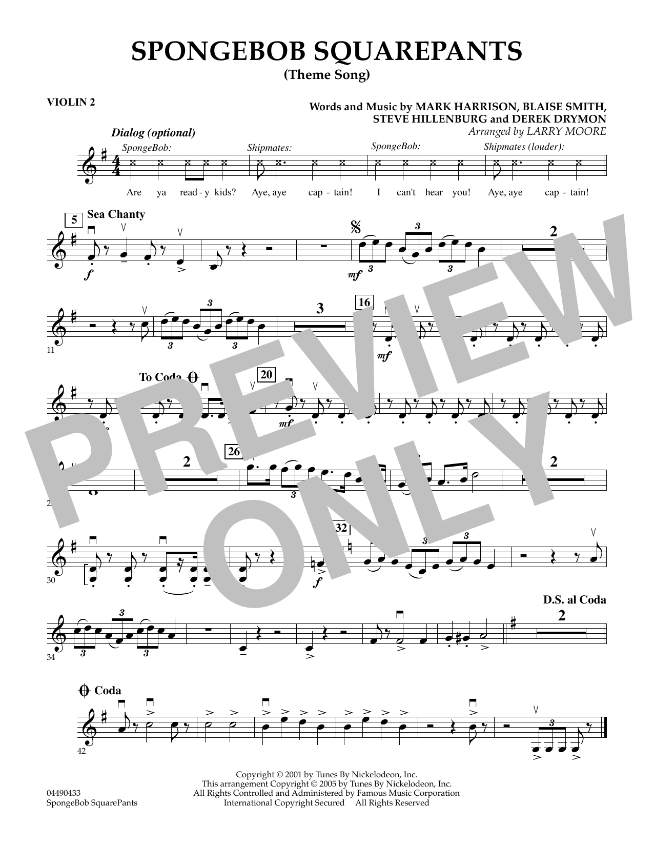 Larry Moore SpongeBob SquarePants (Theme Song) - Violin 2 sheet music preview music notes and score for String Quartet including 1 page(s)