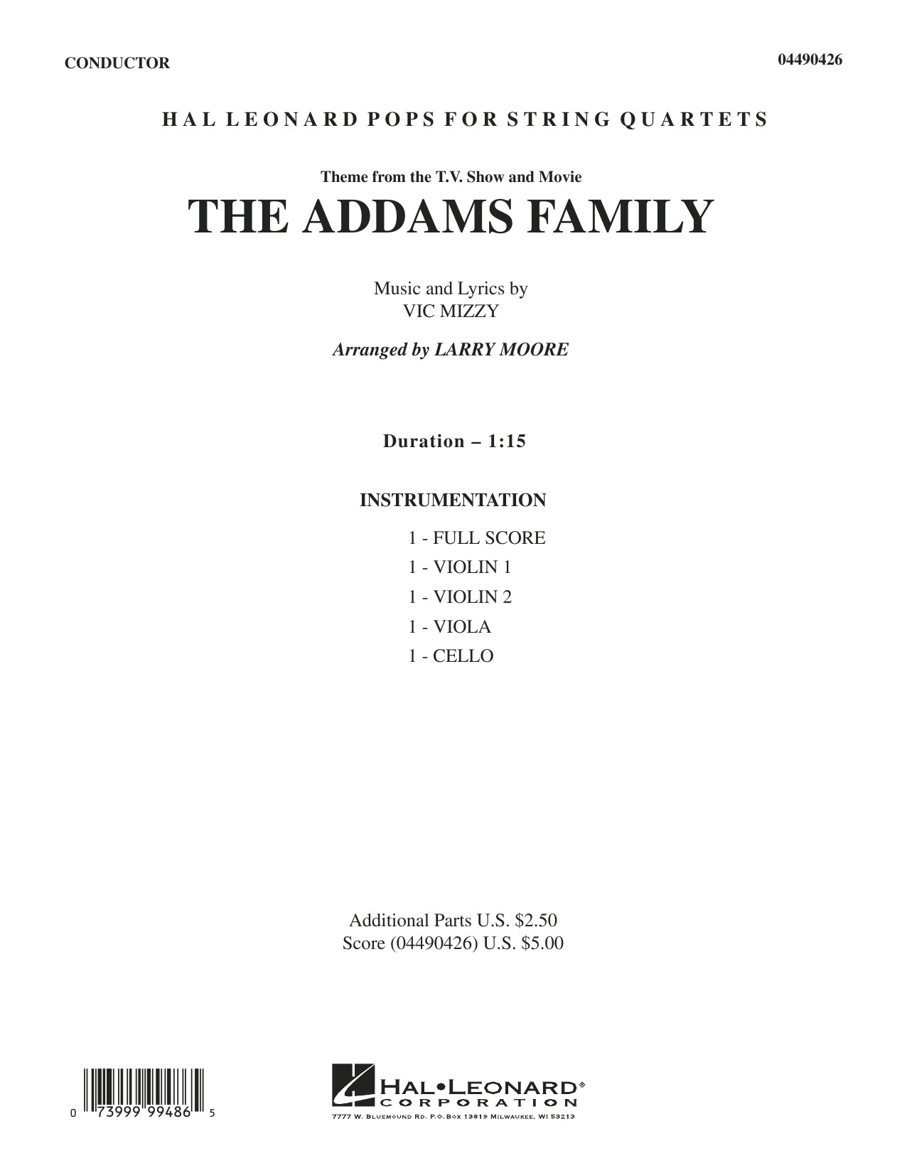 Larry Moore The Addams Family (Theme) - Full Score sheet music preview music notes and score for String Quartet including 4 page(s)