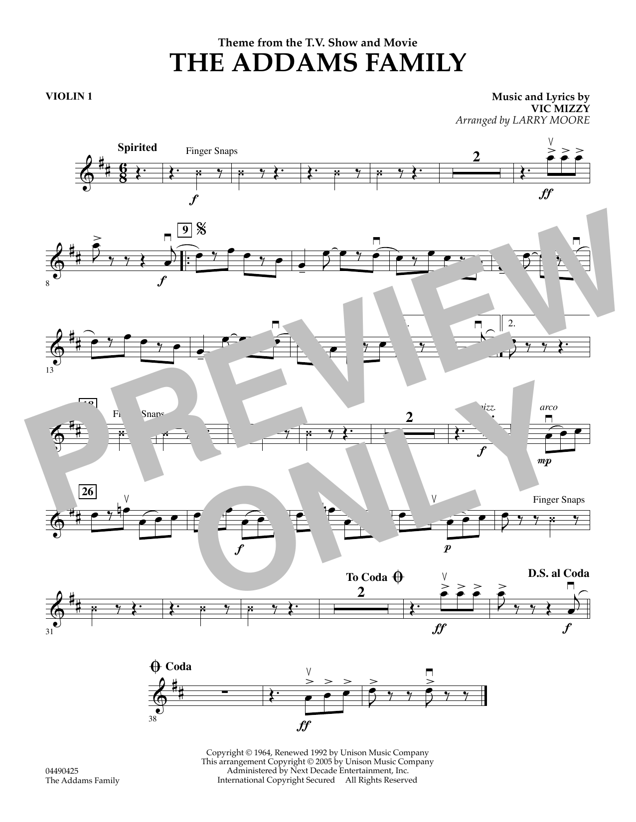 Larry Moore The Addams Family (Theme) - Violin 1 sheet music preview music notes and score for String Quartet including 1 page(s)