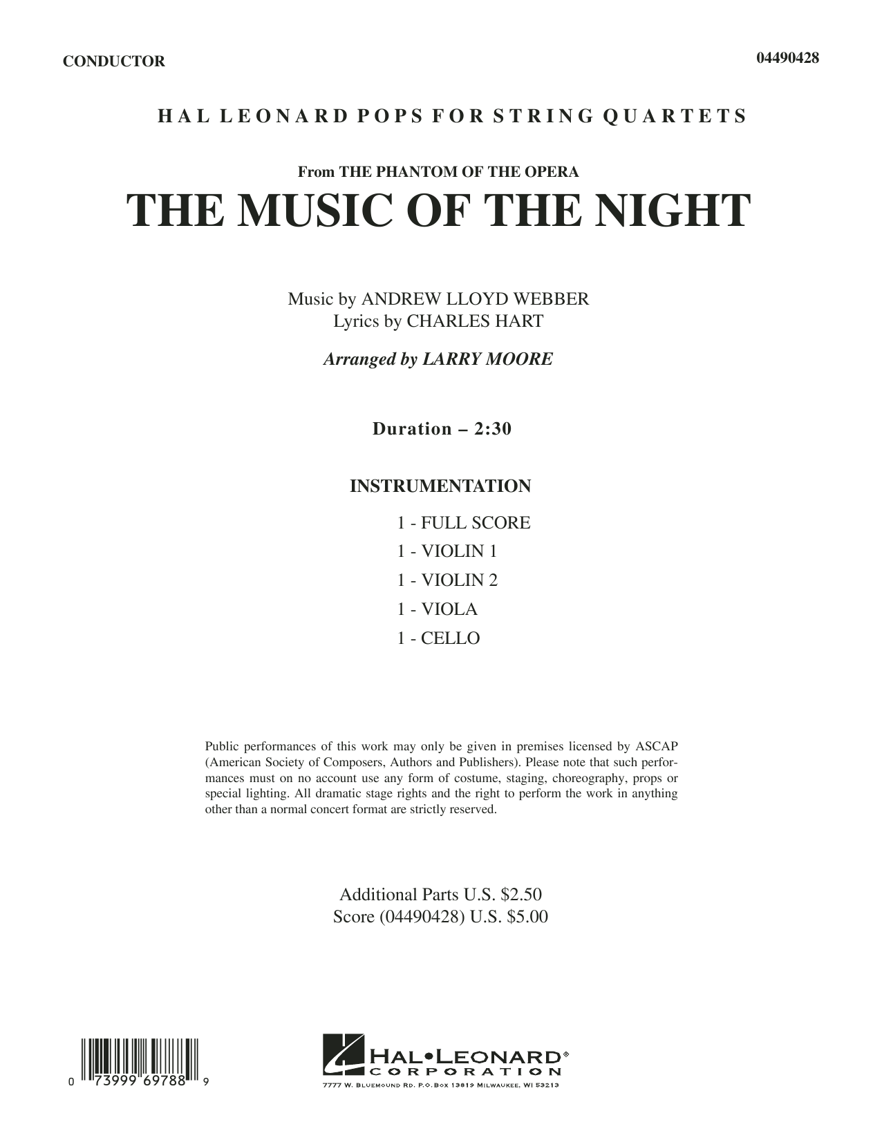 Larry Moore The Music of the Night (from The Phantom of the Opera) - Full Score sheet music preview music notes and score for String Quartet including 4 page(s)