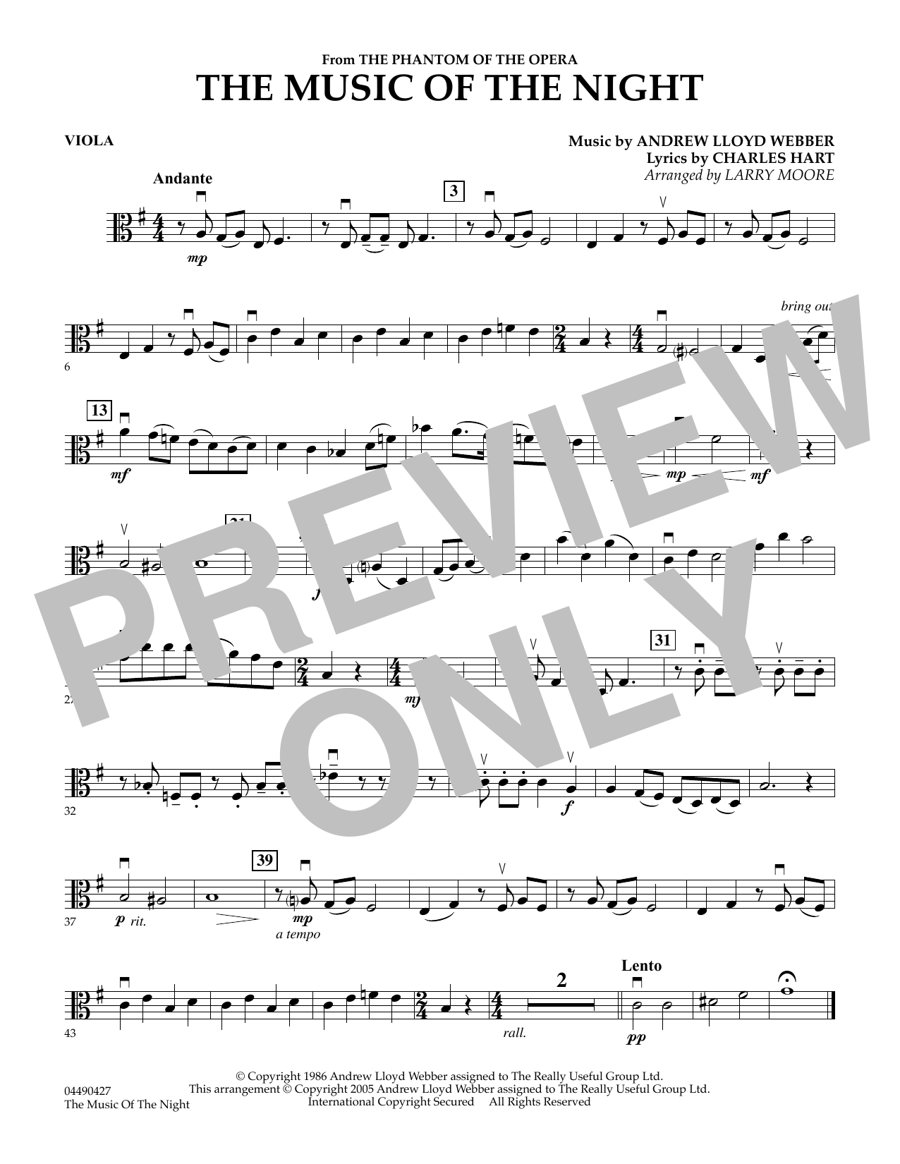 Larry Moore The Music of the Night (from The Phantom of the Opera) - Viola sheet music preview music notes and score for String Quartet including 1 page(s)