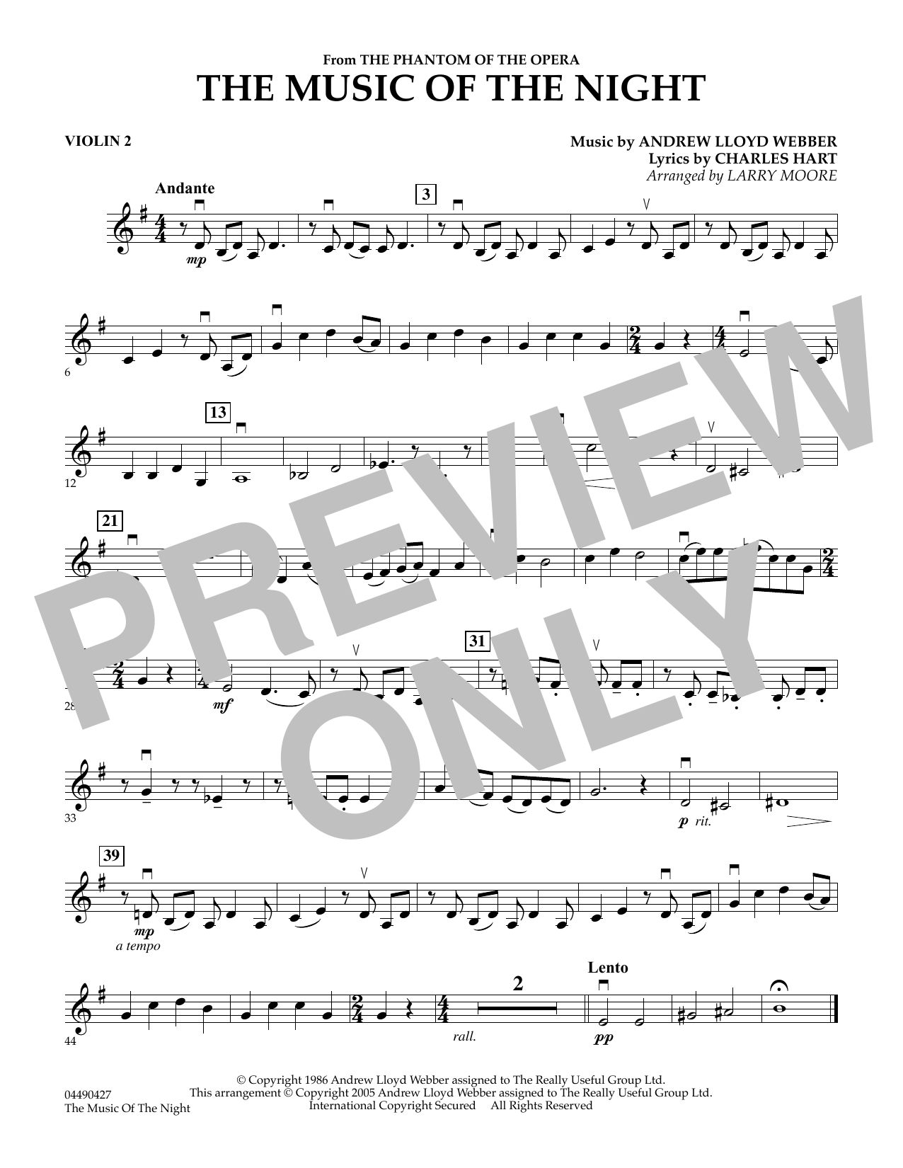 Larry Moore The Music of the Night (from The Phantom of the Opera) - Violin 2 sheet music preview music notes and score for String Quartet including 1 page(s)