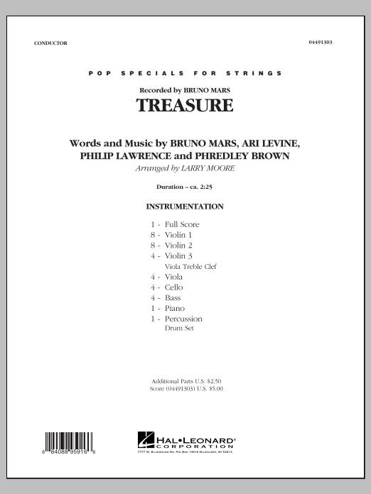 Larry Moore Treasure - Conductor Score (Full Score) sheet music preview music notes and score for String Quartet including 4 page(s)