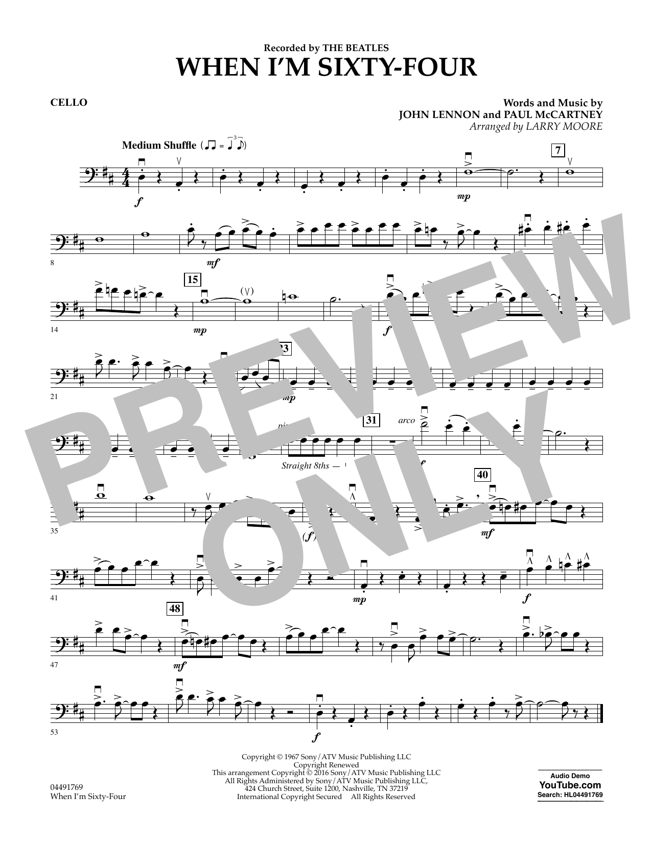 Larry Moore When I'm Sixty-Four - Cello sheet music preview music notes and score for String Quartet including 1 page(s)