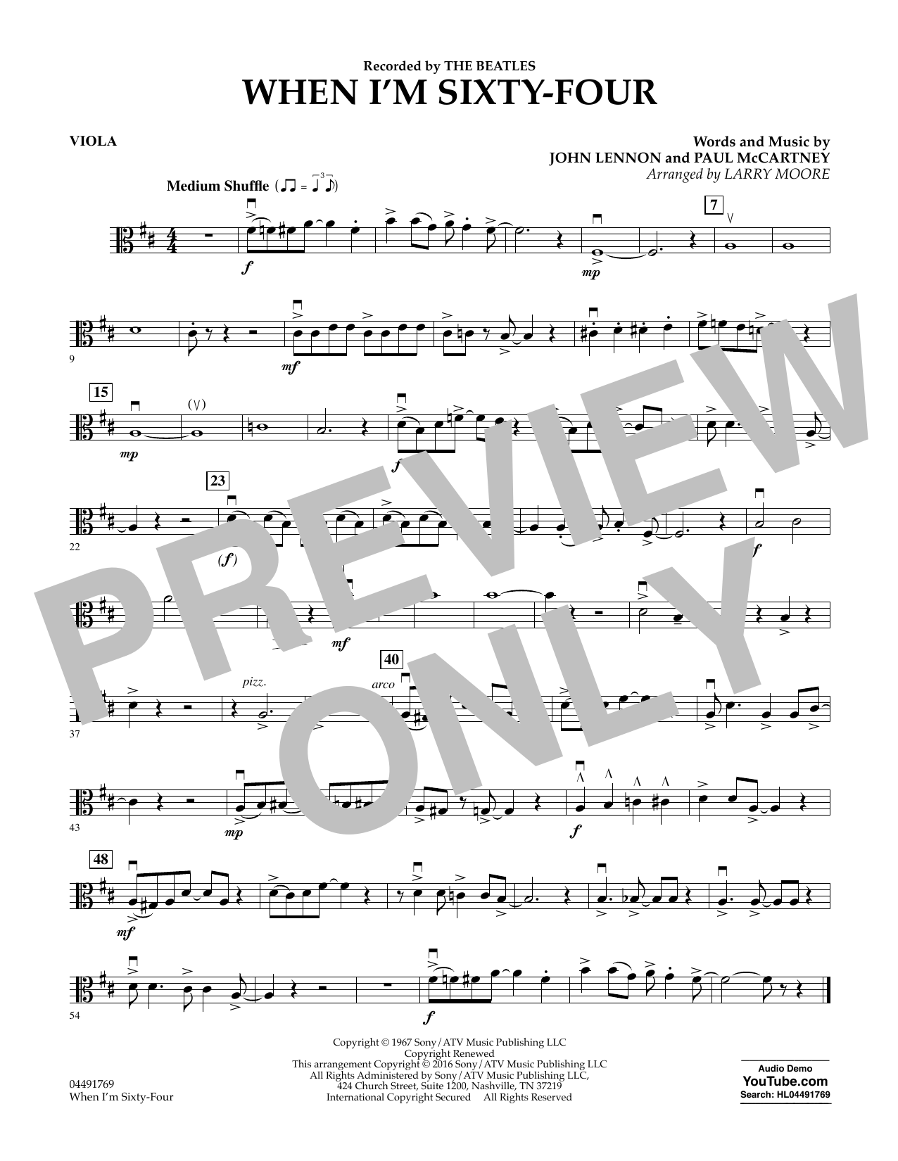 Larry Moore When I'm Sixty-Four - Viola sheet music preview music notes and score for String Quartet including 1 page(s)