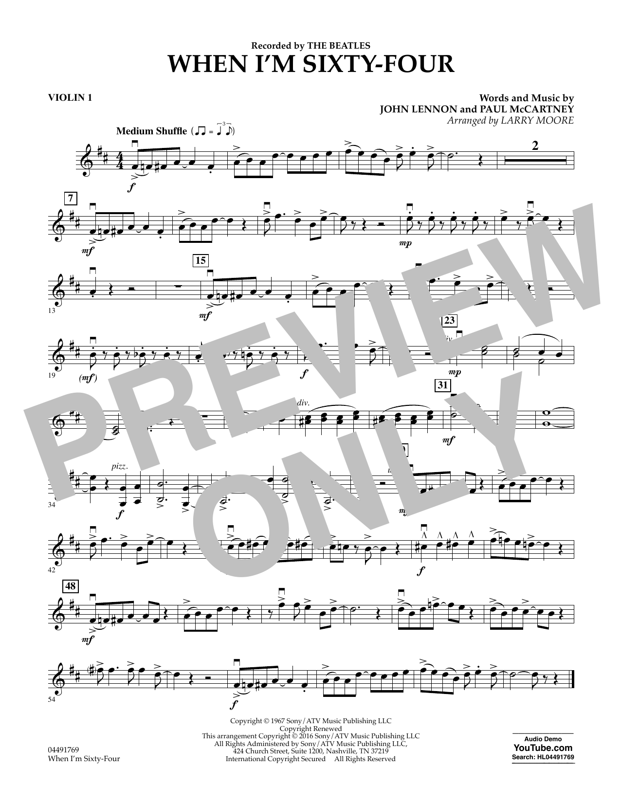 Larry Moore When I'm Sixty-Four - Violin 1 sheet music preview music notes and score for String Quartet including 1 page(s)
