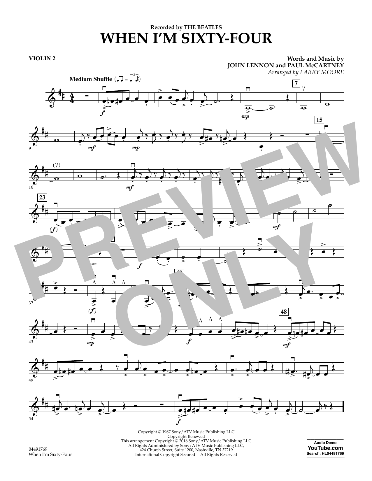 Larry Moore When I'm Sixty-Four - Violin 2 sheet music preview music notes and score for String Quartet including 1 page(s)