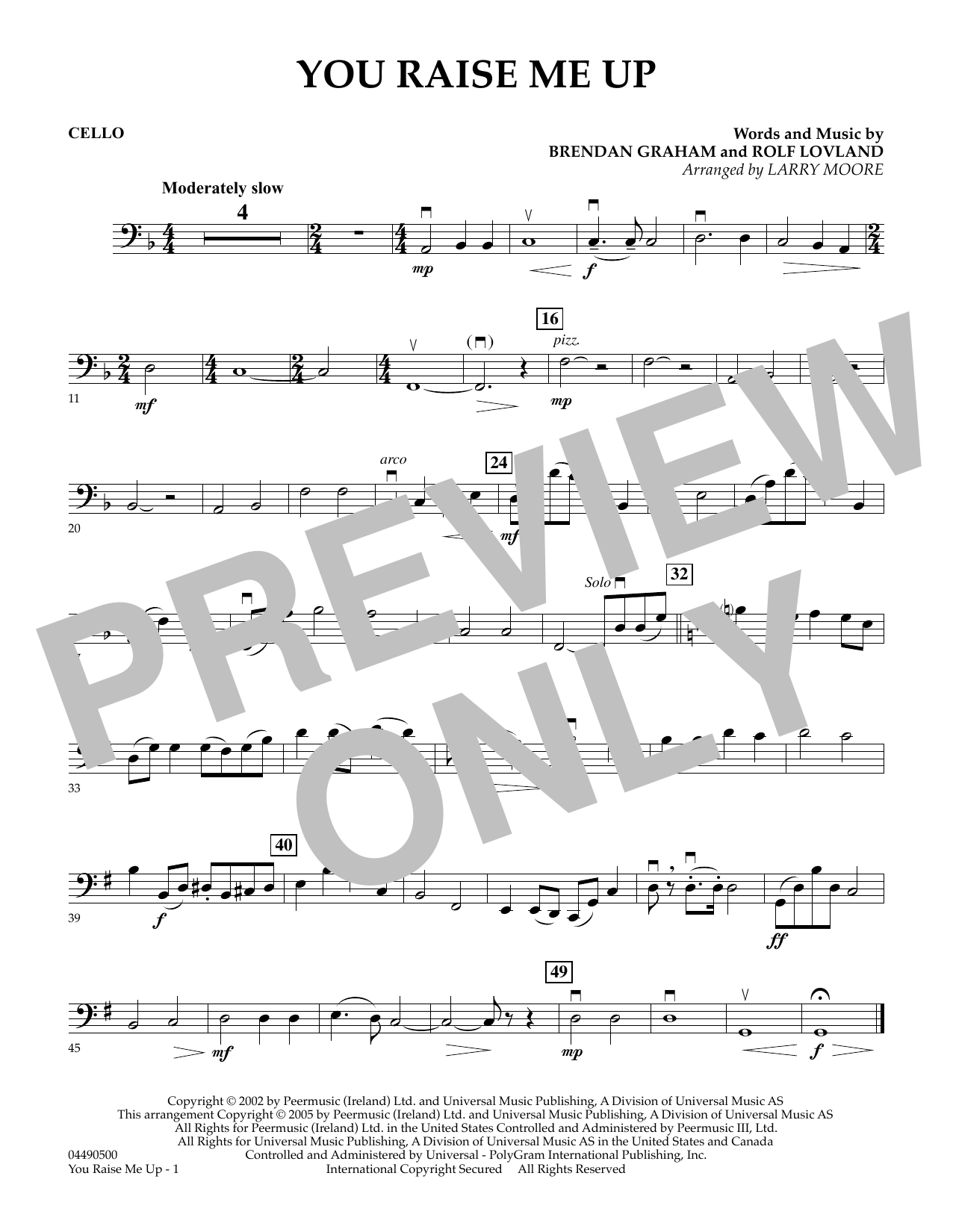 Larry Moore You Raise Me Up - Cello sheet music preview music notes and score for String Quartet including 1 page(s)