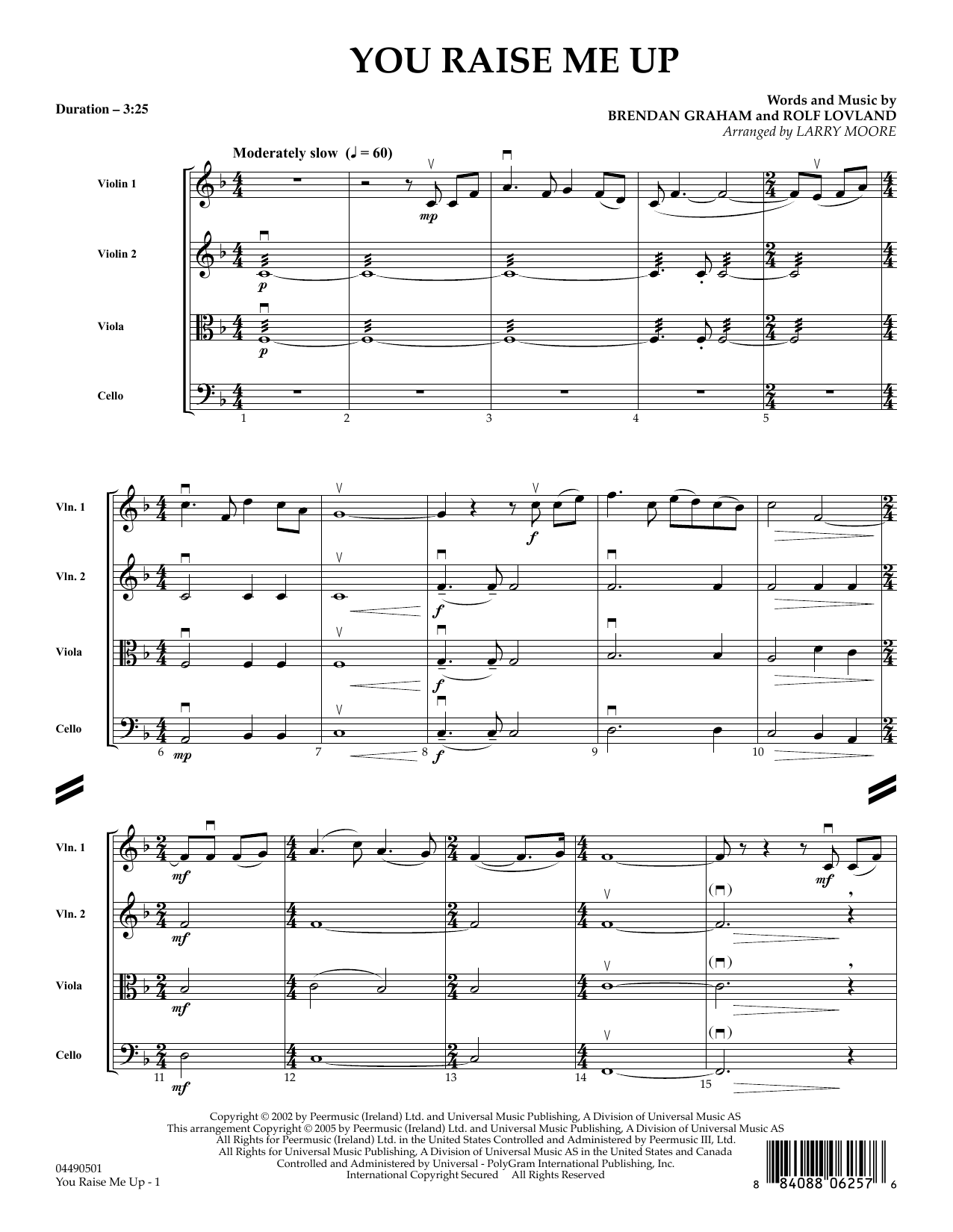 Larry Moore You Raise Me Up - Full Score sheet music preview music notes and score for String Quartet including 4 page(s)