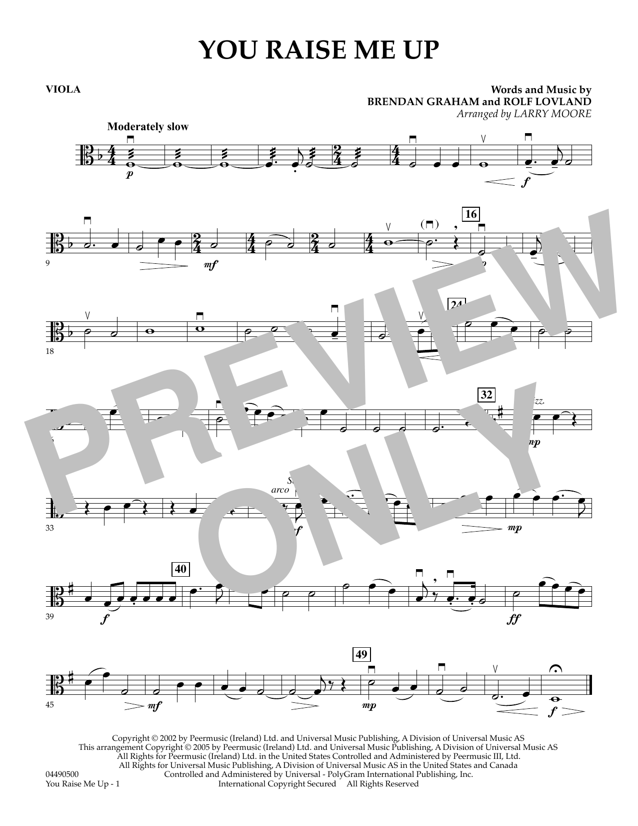 Larry Moore You Raise Me Up - Viola sheet music preview music notes and score for String Quartet including 1 page(s)