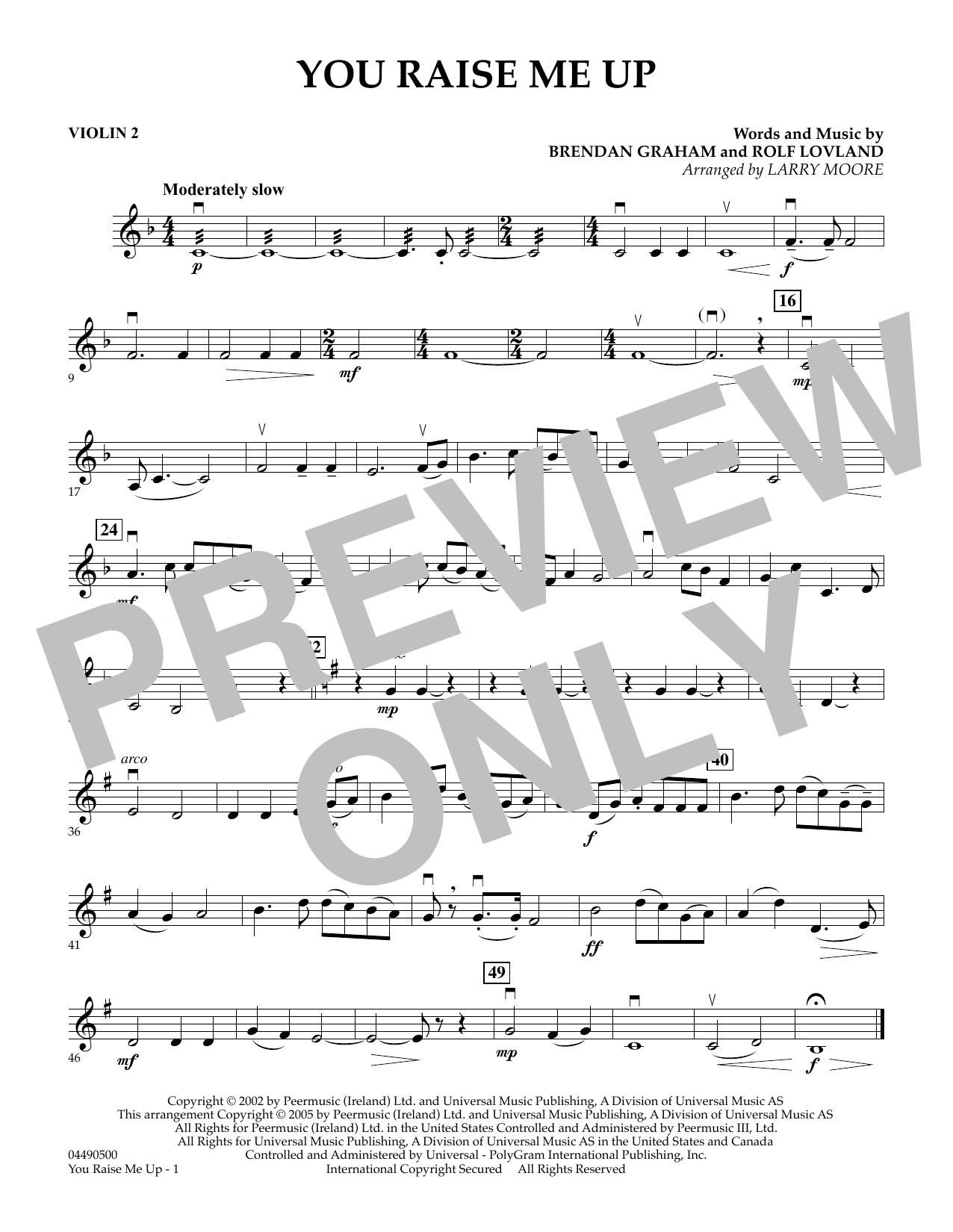 Larry Moore You Raise Me Up - Violin 2 sheet music preview music notes and score for String Quartet including 1 page(s)