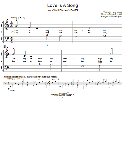 Donald Novis Love Is A Song (from Bambi II) sheet music preview music notes and score for Piano, Vocal & Guitar (Right-Hand Melody) including 2 page(s)