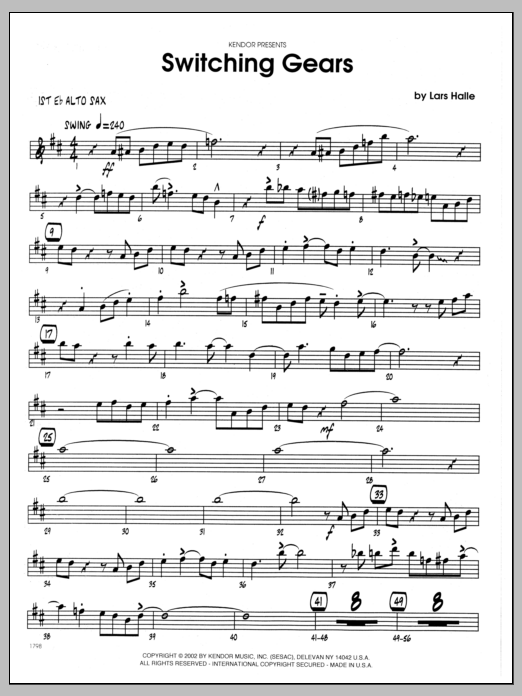Lars Halle Switching Gears - 1st Eb Alto Saxophone sheet music preview music notes and score for Jazz Ensemble including 3 page(s)